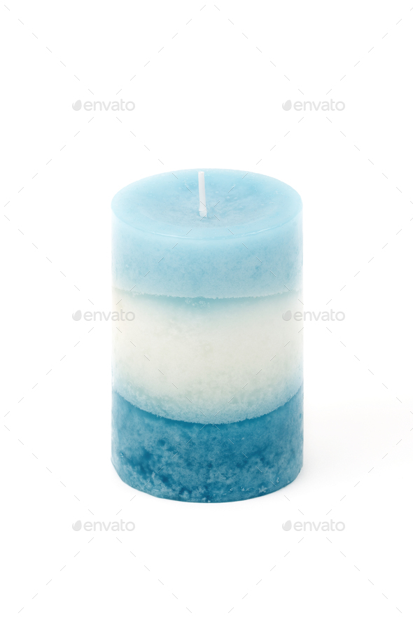 Blue candle on a white background  - Stock Photo - Images