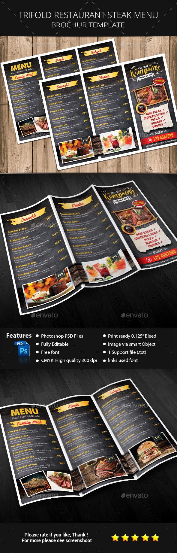 Trifold Restaurant Steak Menu - Restaurant Flyers