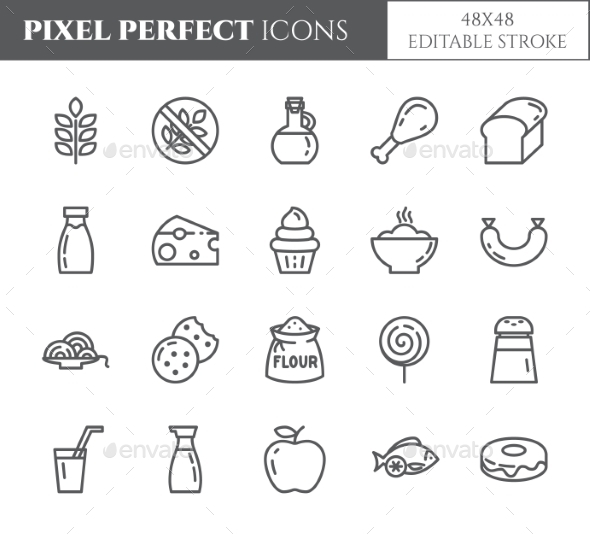 Gluten Free Products Theme Pixel Perfect Line Icon - Food Objects