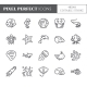Marine Theme Pixel Perfect Thin Line Icons