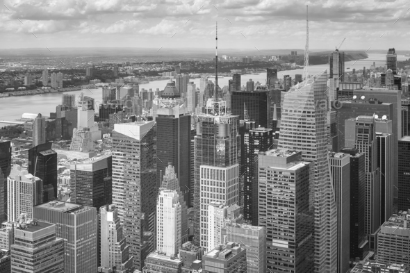 Black and white picture of the Manhattan, New York. - Stock Photo - Images