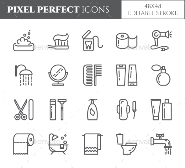 Personal Hygiene Pixel Perfect Line Icons. - Miscellaneous Icons
