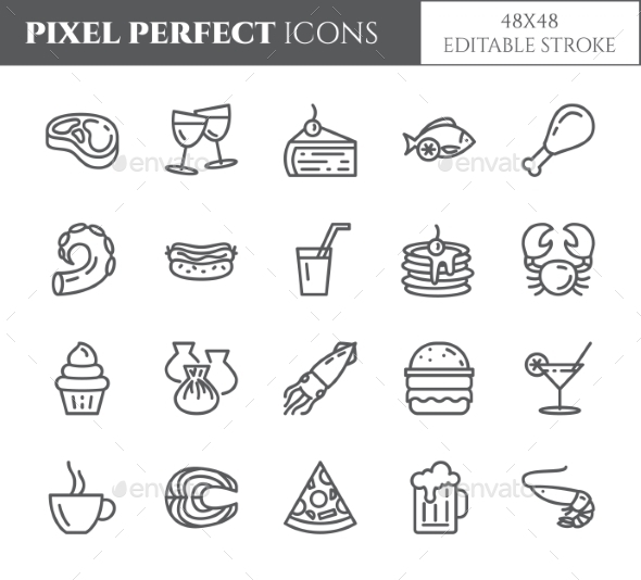 Meals Theme Pixel Perfect Thin Line Icons - Food Objects