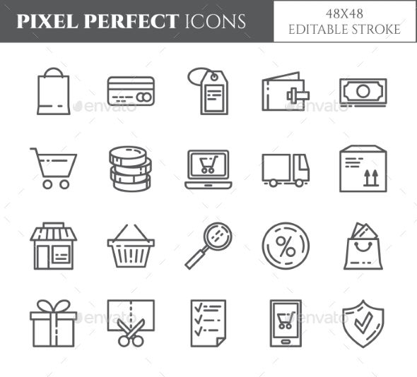Shopping Theme Pixel Perfect Thin Line Icons. - Miscellaneous Icons