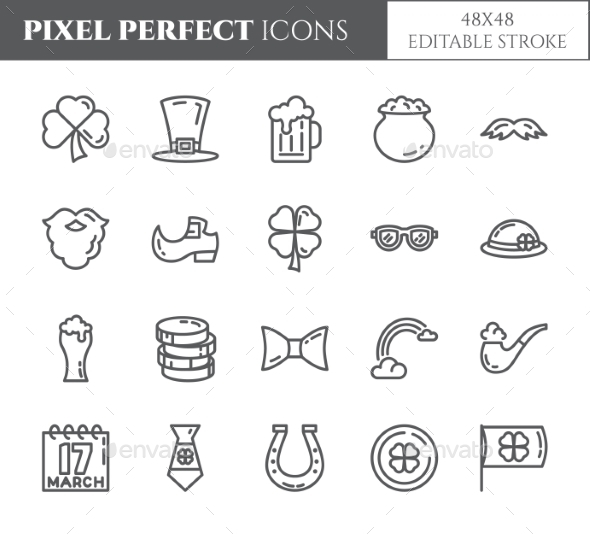St. Patrick's Day Theme Pixel Perfect Icons. - Miscellaneous Icons
