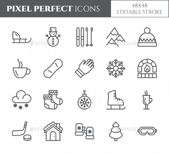 Winter Vacation Theme Pixel Perfect Line Icons. - Seasonal Icons