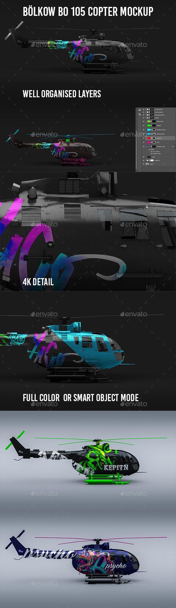 Helicopter Bölkow Bo 105 Mockup 4K - Vehicle Wraps Print