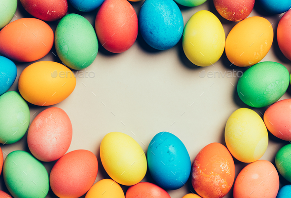 Bunch of home-dyed eggs. Copyspace. - Stock Photo - Images