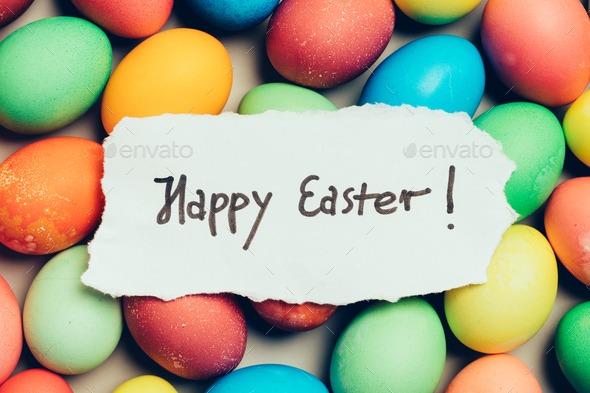 """""""Happy Easter"""" written on a piece of white paper - Stock Photo - Images"""