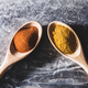 Two wooden spoons with chili and curry powder - PhotoDune Item for Sale