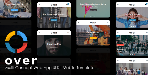 Image of Over - Multi-Concept Web App UI Kit Mobile Template