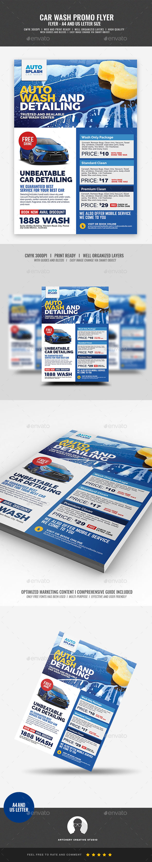 Car Commercial Washing Flyer - Commerce Flyers