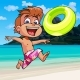 Downlaod Cartoon Boy Happily Runs Along the Seashore