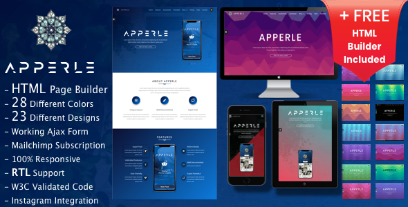 Apperle | App Landing Page HTML template with Page Builder - Technology Site Templates