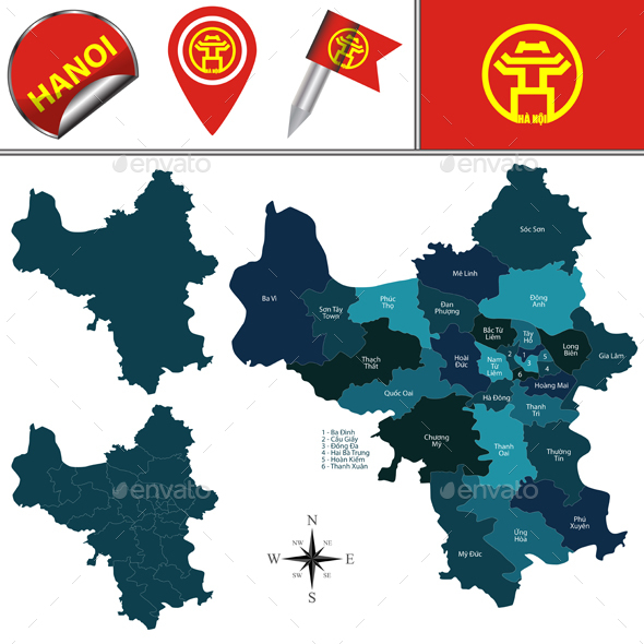 Map of Hanoi with Divisions - Travel Conceptual