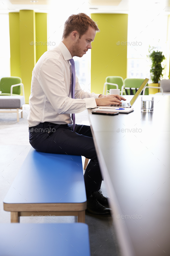 Businessman using laptop in an office meeting area, vertical - Stock Photo - Images