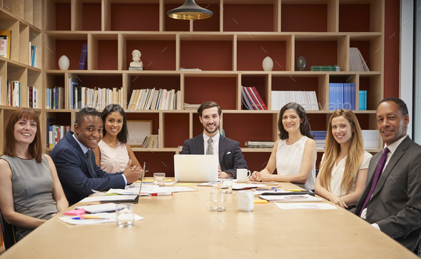 Medium group of people at a business boardroom meeting - Stock Photo - Images