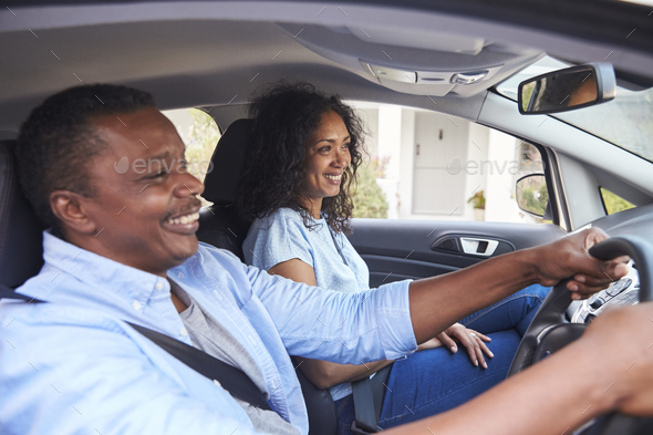 Mature Couple Sitting In Car On Road Trip - Stock Photo - Images