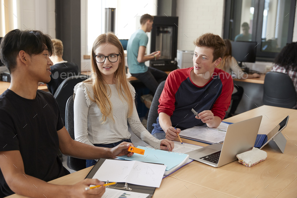 Design Students Working In CAD/3D Printing Lab Together - Stock Photo - Images