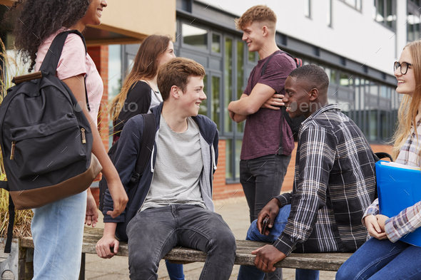 Student Group Socializing Outside College Buildings - Stock Photo - Images