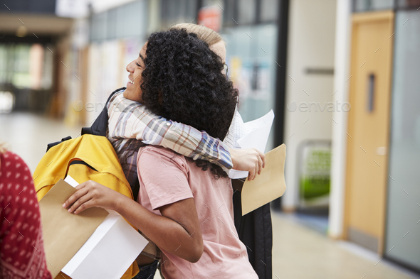 Female College Students Celebrating Exam Results - Stock Photo - Images