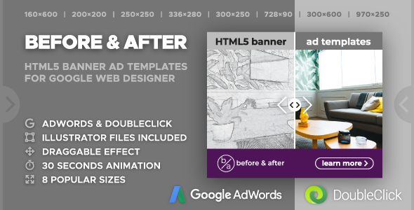 Before & After - Multipurpose Animated HTML5 Banner Ad Templates (GWD, GSAP)