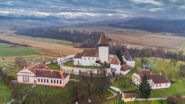 Hosman fortified church in Transylvania, Romania - Stock Photo - Images