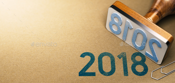 Year 2018 Stamp Over Paper Texture  - Stock Photo - Images