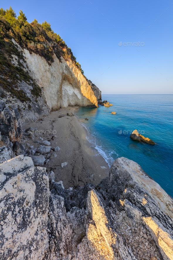 little beach near Agios Nikitas. Lefkada, Greece - Stock Photo - Images