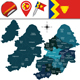 Map of Birmingham with Named Divisions - GraphicRiver Item for Sale