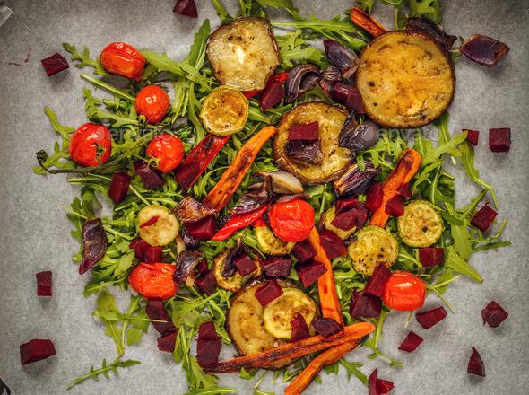Grilled vegetables on rocket bed - Stock Photo - Images