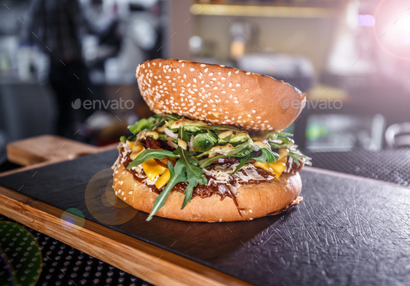 Tasty grilled beef burger - Stock Photo - Images