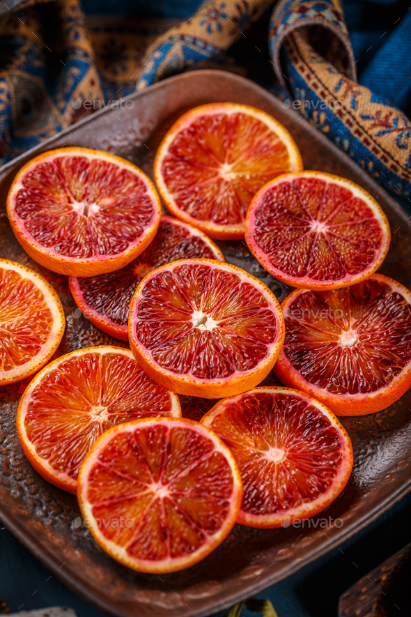 Blood red orange slices - Stock Photo - Images