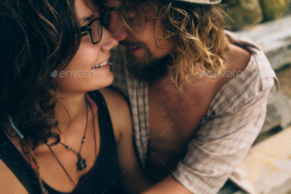 guy and girl hugging each other - Stock Photo - Images