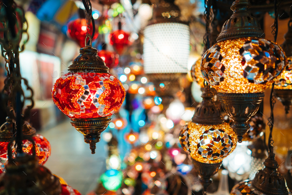 Beautiful turkish mosaic lamps - Stock Photo - Images
