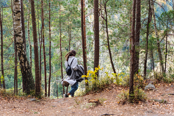 The girl walks along in the woods - Stock Photo - Images