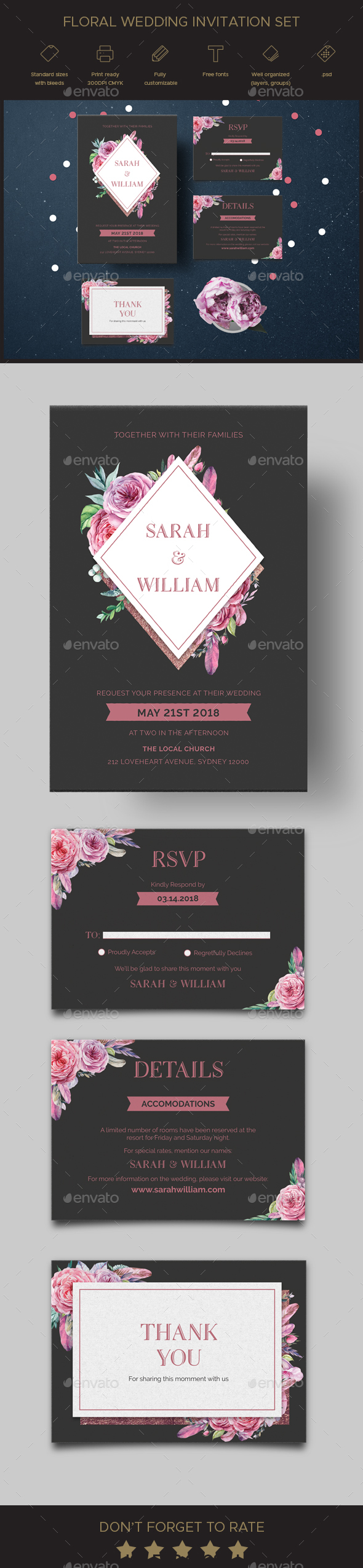 Floral Wedding Invitation Set - Weddings Cards & Invites