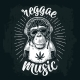 Monkey Hipster with Dreadlocks in Headphones - GraphicRiver Item for Sale
