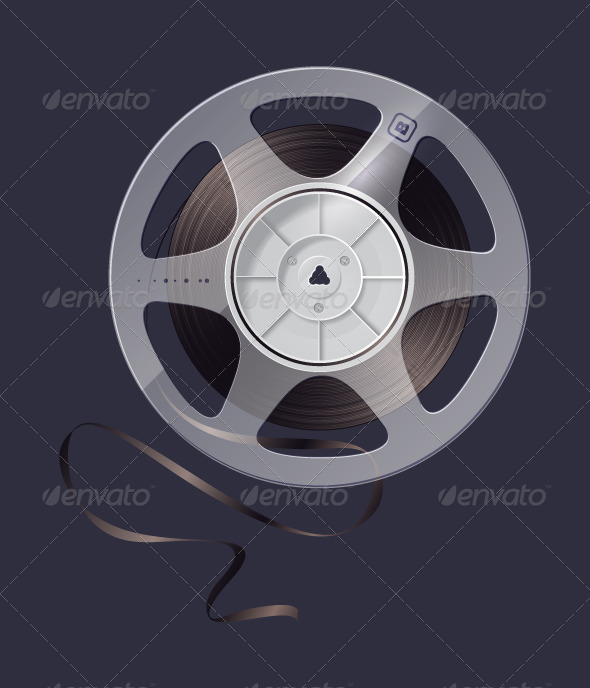 Icon reel of magnetic tape recording - Man-made Objects Objects