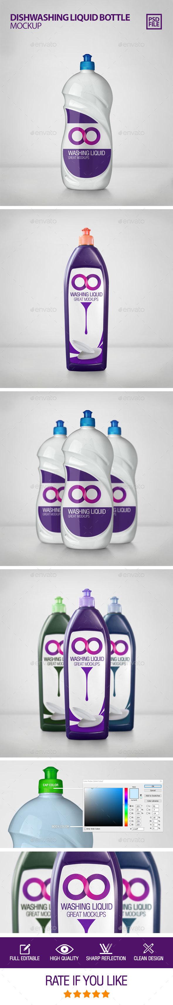 Dishwashing Liquid Bottle Mockup - Product Mock-Ups Graphics