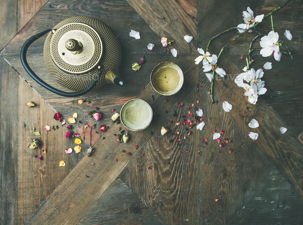 Flat-lay of Traditional Asian tea ceremony arrangement, copy space - Stock Photo - Images