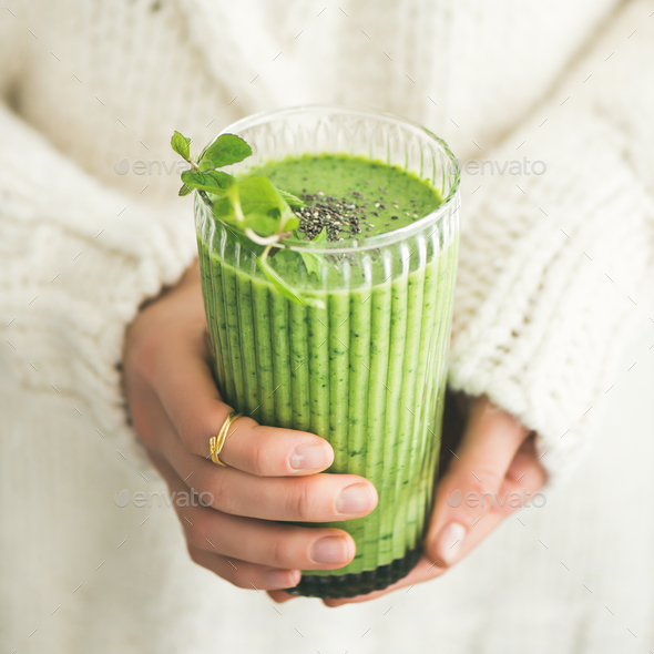 Matcha green smoothie with chia seeds and mint, square crop - Stock Photo - Images