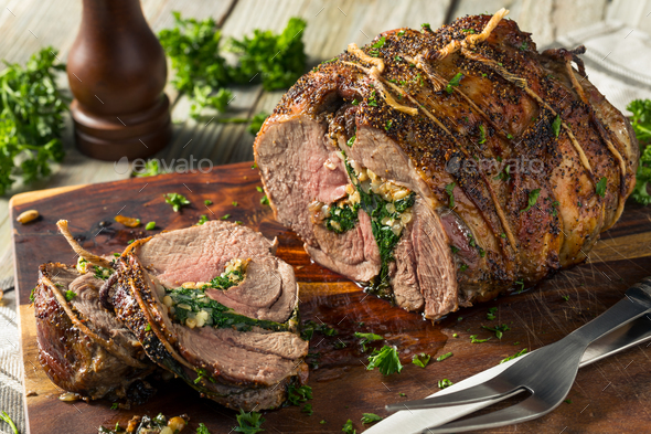 Roasted Stuffed Leg of Lamb - Stock Photo - Images