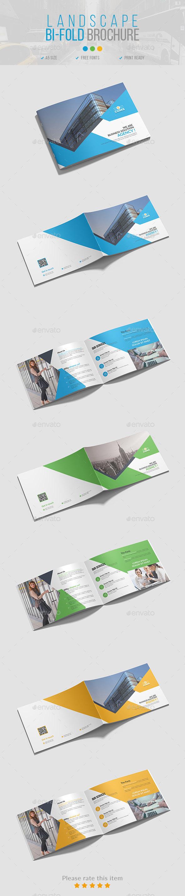 Landscape Bi-Fold Brochure 03 - Brochures Print Templates