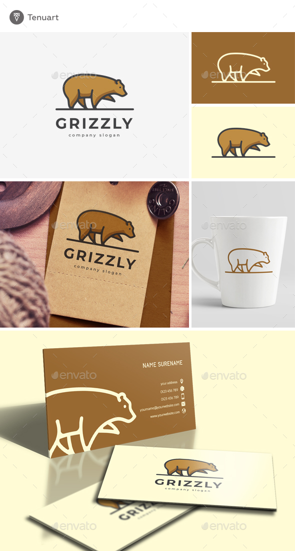 Grizzly Logo Template - Animals Logo Templates