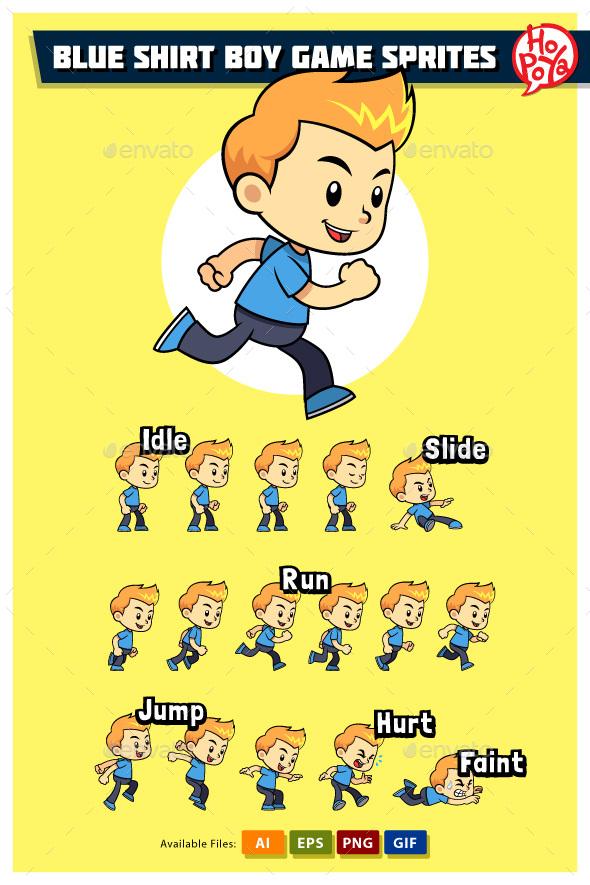 Blue Shirt Boy Game Sprites - Sprites Game Assets