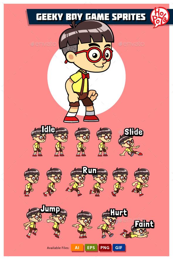Geeky Boy Game Sprites - Sprites Game Assets