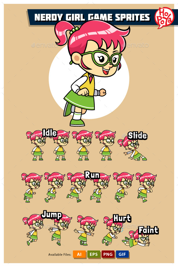 Nerdy Girl Game Sprites - Sprites Game Assets