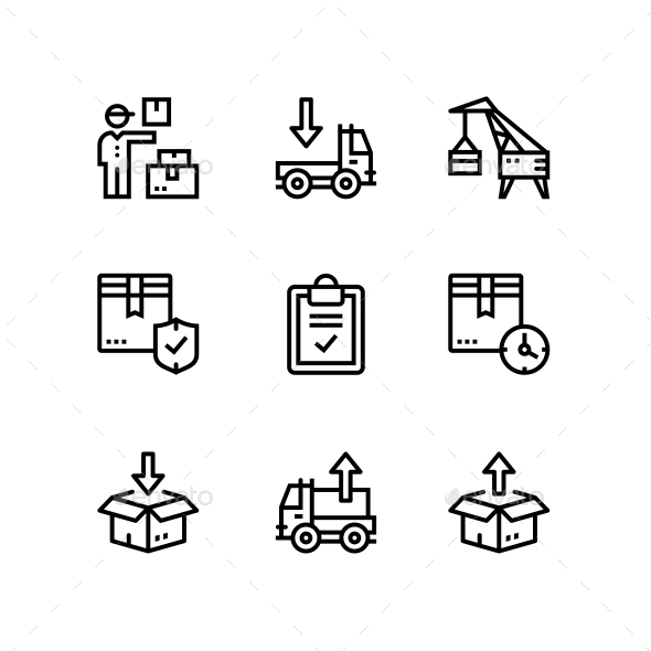 Delivery, Shipment, Cargo Icons for Web and Mobile Design Pack 5 - Business Icons