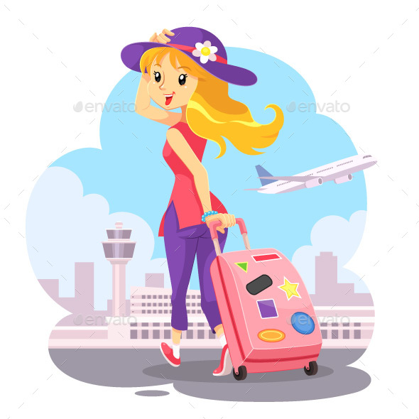 Traveling Girl With Pink Trolley Bag - Travel Conceptual